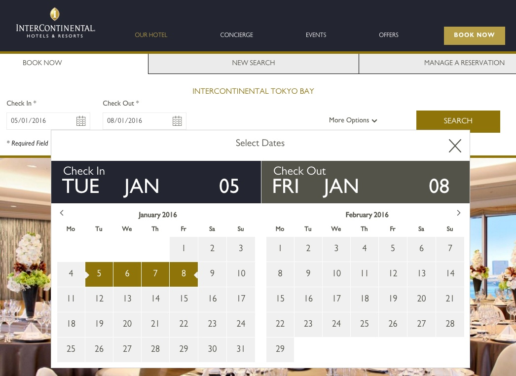 InterContinental Hotel website booking form